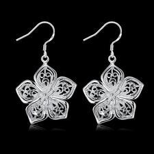 beautiful Fashion Silver plated Cute women pretty flower Earring charms jewelry
