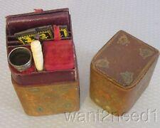 "antique 19C LADY'S COMPANION ETUI 4.5"" gilt leather book case sewing kit set"