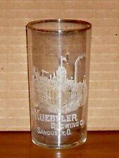 Antique Kuebeler Brewing Co. etched beer glass Sandusky, Ohio