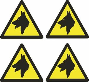 4 Pack Security Guard Dogs Mini Warning STICKER Signs for Cars Vans Doors Window