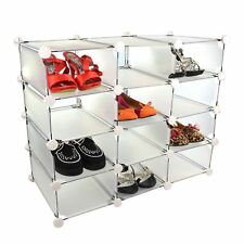 New 12 Pair Shoe Cube White Ends Compartments Storage Plastic Shelf Interlocking