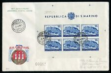 SAN MARINO UPU SCOTT#C62b imperf SHEET ON FIRST DAY COVER scott VALUE USED