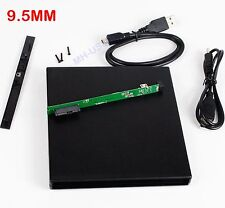 USB 2.0 Super Slim External Case Enclosure for 9.5mm SATA CD DVD RW Burner Drive