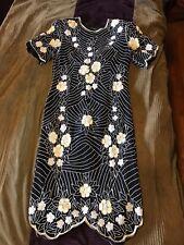 Silk Cocktail Dress Black White Cream Vintage Scala Beaded Sequin L Flapper