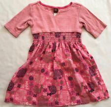 Tea Collection Size 2 Years Pink Stripe Elephant Bird Print 3/4 Sleeve Dress