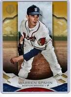 Warren Spahn 2019 Topps Tribute 5x7 Gold #19 /10 Bos Braves
