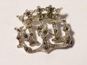 1920's Art Deco French Silver Marcasite Duke Crown ND Initials CHARLES FORGELOT