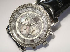 Large 47mm Joshua & Sons Diamond Chronograph SS Date Watch Model JS-28-01