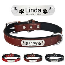 Leather Personalised Dog Collar Heavy Duty Engrave Name Tag for Small Large Dog