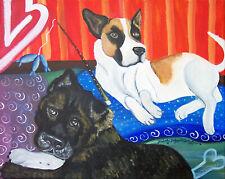 Akita going Fishing Pop Art Print 5 x 7 Dog Collectible Signed Artist Ksams