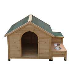 XLarge Dog Timber Wooden Kennel House Cabin Log with Storage Box and Bowls T031