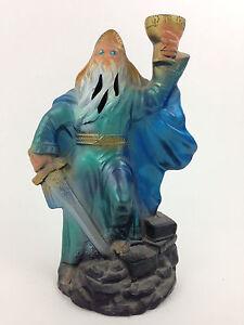 "Vintage 8"" Merlin Camelot DRUID Wizard Sword Grail Cup incense stick holder"
