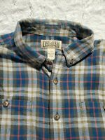 DULUTH Trading Co Blue Yellow Stripe Flannel Long Sleeve Shirt Men's Large/Tall