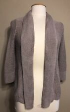 NEW Eddie Bauer Womens Size XS Cable Knit Open Front Cardigan Sweater 3/4 Sleeve