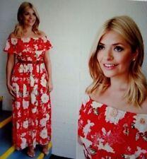River Island Red Floral Maxi Dress Side Slits Off Shoulder  Polyester Size 18 44