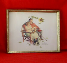 """Old Married Couple""  Dog & Kitten Norman Rockwell Lithograph-12 X 15"" Framed"