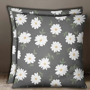 Home Decorative 2 Pcs Cushion Cover Gray Cotton Poplin Floral Print Pillow Case