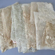 Lot IMPERFECT Antique Ecru LACE Trims FLOUNCE Scraps TAMBOUR Brussels * DOLLS