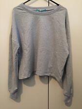 Womens Jumper Cropped Long Sleeve Top Crop Sweater Grey, M