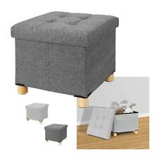 Folding Stool Seat Storage Space Box Chair Cube Footstool Pouf Bench 38x38x35cm
