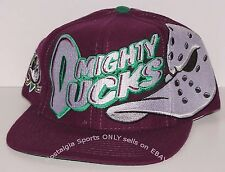 Vintage 90's NHL Anaheim Mighty DUCKS The GAME Big LOGO Snapback Hat NWOT NOS