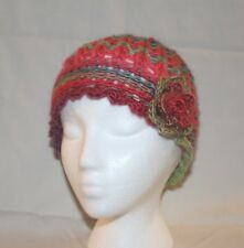 WOMAN'S HAND-CROCHETED FLAPPER HAT WITH FLOWER--BRIGHT MULTI COLORED--NEW