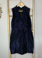 Cue Size 12 M Navy Blue Womens Dress Made in Australia Shift Sheath