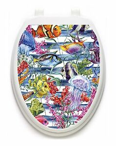 Toilet Tattoos Sealife   Lid Cover  Decor Silver Reusable Vinyl 1119