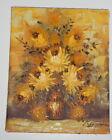 "Vintage Signed Rispoli Original Oil canvas Painting 8"" x 10"" Yellow Flowers"