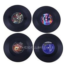4pcs Retro Vinyl Record Coasters Cup Drinks Holder Mat Tableware Placemat E0Xc
