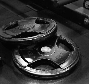 """Set of 2 45 LB Rubber Coated Weight Plates, Olympic / 2"""""""