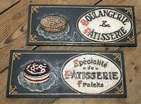 Vintage PASTRY SIGNS FRENCH PATISSERIE BOULANGERIE Resin Bakery Chef Cooking