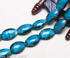 10pcs 25mm Lampwork Glass Handmade Oval Finding Loose Spacer Beads Peacock Blue