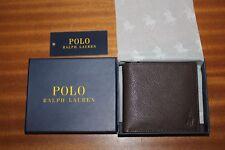 Ralph Lauren hombre con doble pliegue de 100% cartera de cuero marrón Buen Precio, Regalo De Navidad