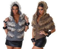 Maglione donna cardigan manica corta con cappuccio e pelliccia sintetica giacca