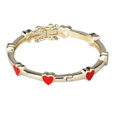 Gold Plated with Red Enamel Hearts Kids Girls Baby Bangle Cuff Bracelet 35mm