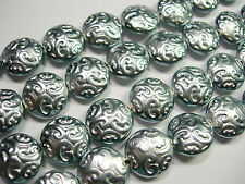 10 Lovely Czech Glass Button Beads 14mm Silver Pearl