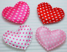 80 Cute Padded Satin dots Heart appliques Craft Mix Colors~Cardmaking