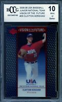 2005-06 USA Baseball JNT Future #35 Clayton Kershaw Rookie BGS BCCG 10 Mint+
