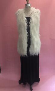 Ralph Lauren White Long Hair Curly Lamb Faux Fur Vest Jacket Woman Size Small
