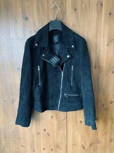 RRP £229 - JOHN LEWIS BIKER JACKET Black Suede Leather Coat UK 12 - BNWT