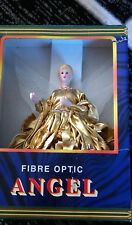 New fiber optic gold gown angel tree or table top lights up 12""