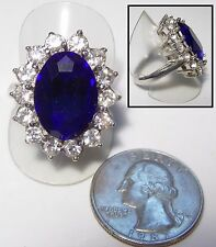 Large Blue Simulated Sapphire & Crystal Ring, Princess DIANA Engagement, 8.5