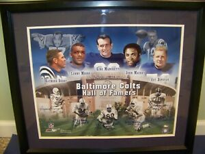 Baltimore Colts Signed 16 X 20 Photo by Berry Moore Donovan Mackey and Marchetti