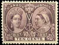 Canada #57 mint F-VF OG HR 1897 Queen Victoria 10c brown violet Diamond Jubilee