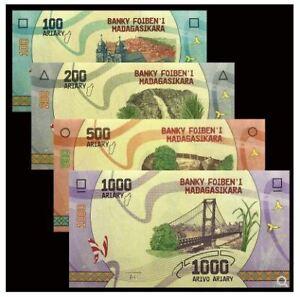Madagascar Banknote 4pcs Set 2017 (UNC) 全新 马达加斯加 4张(100-1000阿利亚里) 2017年