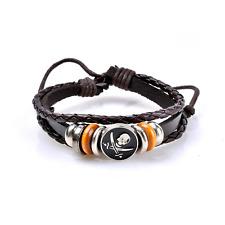 Punk Black Leather Bracelet with Skull & Crossbones - UK Stock