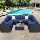 9pc Rattan Wicker Sofa Set Outdoor Sectional Furniture W/ Cushions Garden Patio