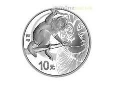 10 Yuan Lunar Anno Monkey Scimmia Cina 2016 1 oncia d'argento PP rotondo Rotondo