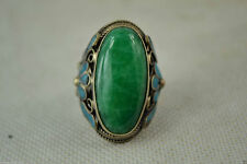 China Miao Silver Old Cloisonne Carve Flower Inlay Green Jade Noble Adjust Ring